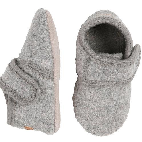 MELTON Wool Velcro Booties - Grey