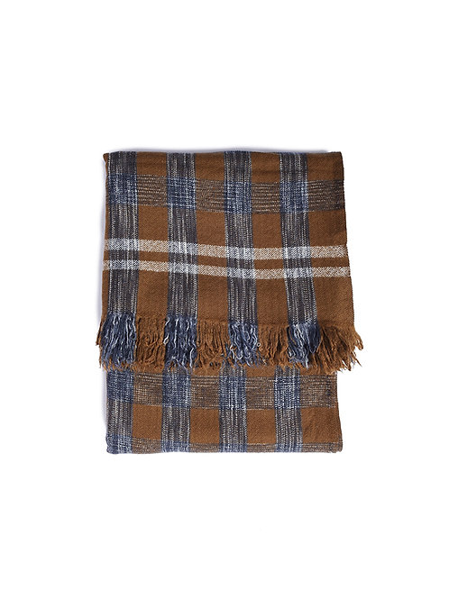 KHADI & CO Space Dyed Check Blanket - Moss
