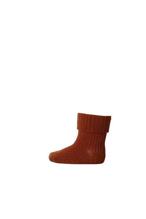 MP DENMARK Rib Wool Baby Socks - Sienna
