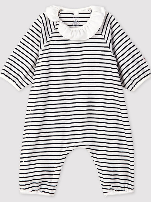 PETIT BATEAU Baby Girls' Stripy Ribbed Jumpsuit