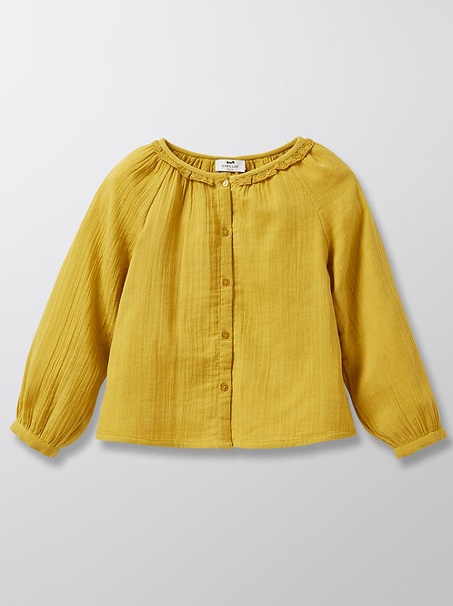 CYRILLUS Girl's Shirt Lace Collar Curry
