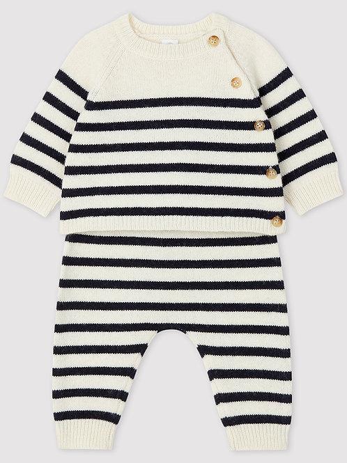 PETIT BATEAU Striped Knit Baby Set