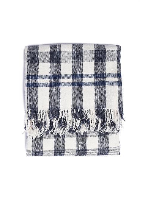 KHADI & CO Space Dyed Check Blanket - Indigo
