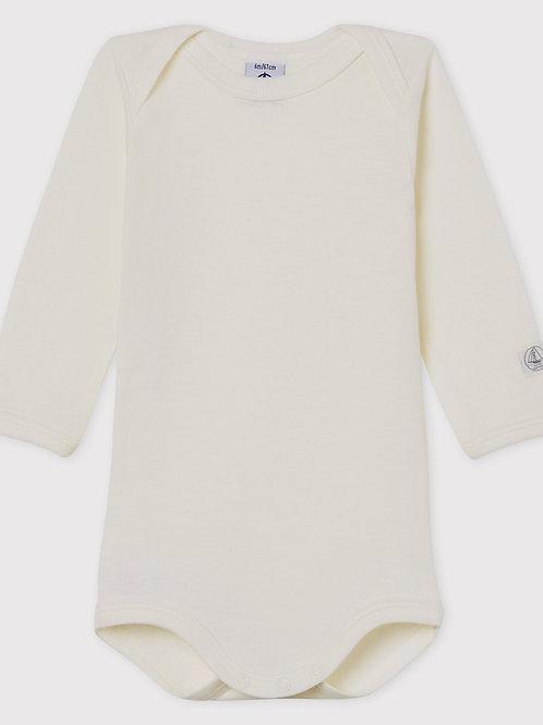 PETIT BATEAU White Long-Sleeved Baby Bodysuit