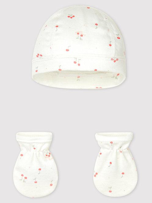 PETIT BATEAU  Newborn Bonnet and Mittens Set