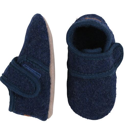 MELTON Wool Velcro Booties - Navy