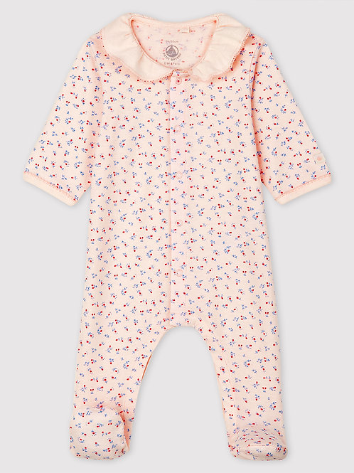 PETIT BATEAU Pink Sleepsuit with Collar