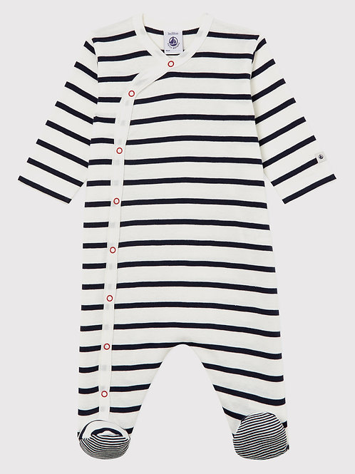 PETIT BATEAU Babies' Striped Ribbed Sleepsuit