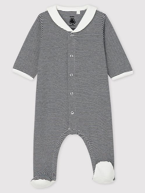 PETIT BATEAU Stripy Sleepsuit with Sailor Collar