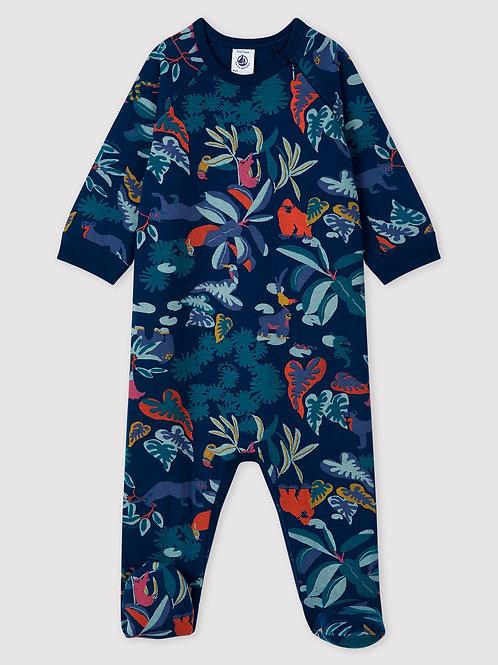 PETIT BATEAU Zip-Up Tube Knit Sleepsuit
