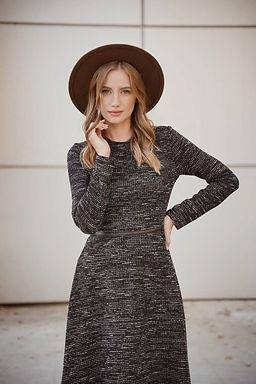 שמלת צמר מעורב שחור לבן
