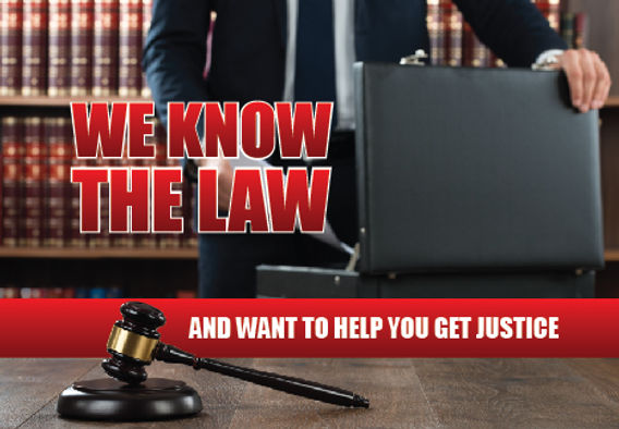 """Attorrney Postcard """"We Know The Law"""""""