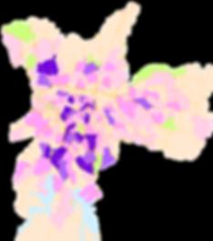 mapa temático em estudo da Urban Systems Brasil