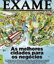 As melhores cidades para negócios capa revista Exame com estudo da Urban Systems Brasil