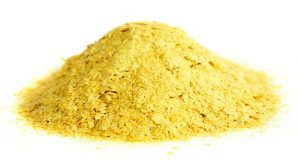 Nutritional yeast natural source of vitamin B. Saccharomyces cerevisiae.