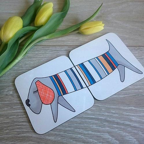 Sausage Dog Coaster Pair
