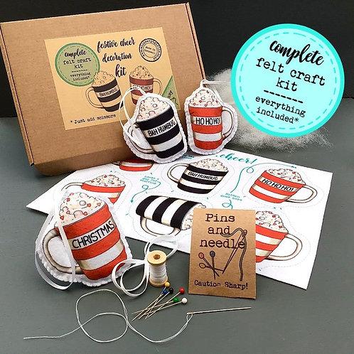 Sew your own Xmas mugs decoration, plushie sewing kit