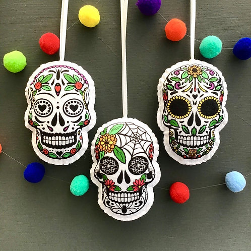 Sew your own sugar skull decorations, plushie sewing kit
