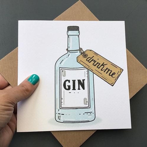 Drink me Gin bottle card