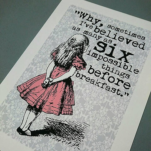 Alice in Wonderland Six impossible A4 or A3 UNFRAMED print