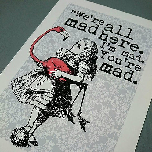 Alice in Wonderland  Flamingo mad here A4 or A3 UNFRAMED print