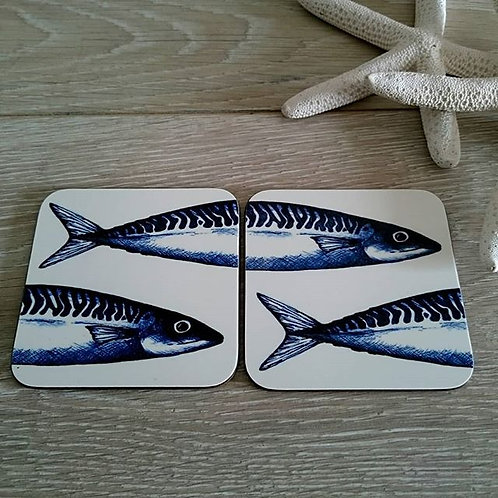Mackerel Coaster Pair