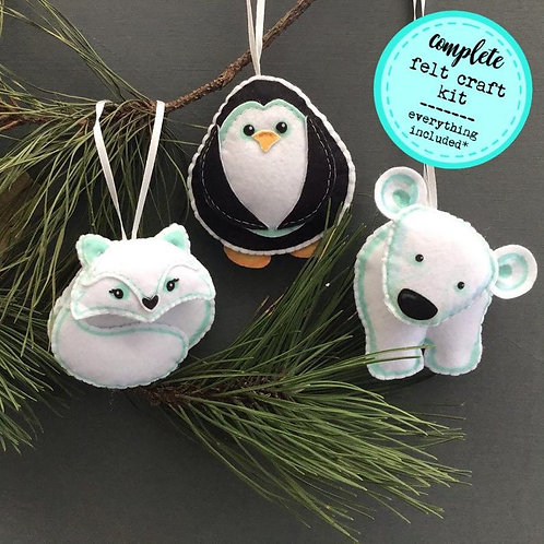 Sew your own Winter animal decorations, plushie sewing kit.