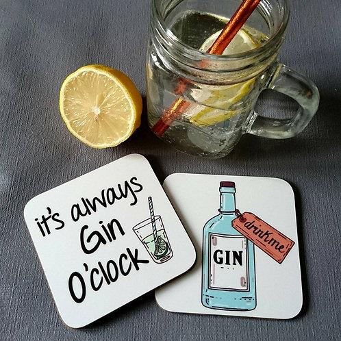 Drink me Gin Coaster Pair