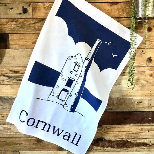 Cornish tin mine tea towel