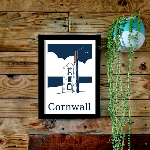Cornish Engine house A4 or A3 UNFRAMED print