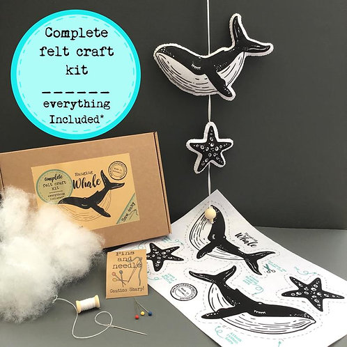 Sew your own Whale decoration, plushie sewing kit