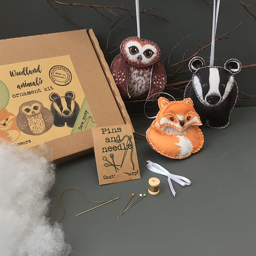 Sew your own Woodland animal decorations, plushie sewing kit.