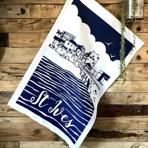 St Ives Harbour tea towel