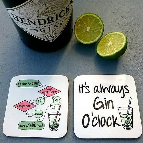 Gin Coaster Pair