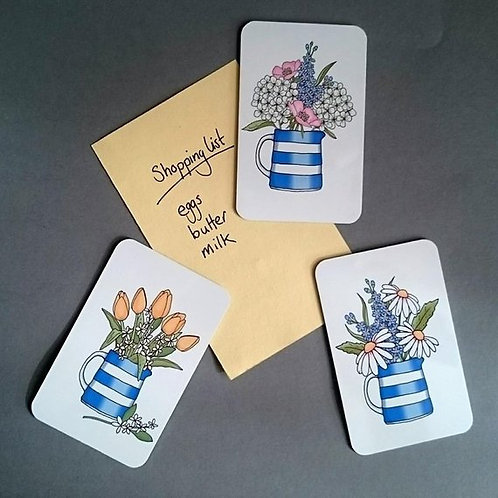 Set of 3 Cornishware Jug with flowers magnets