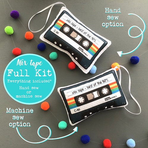 Sew your own Mix tapes decoration, plushie sewing kit