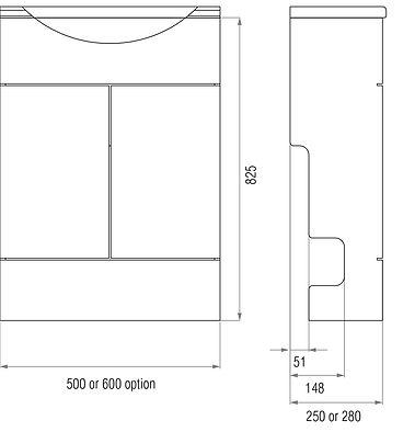 Wash hand basin vanity unit dimensions illustration