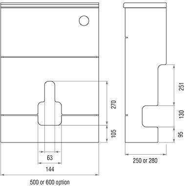 WC vanity unit dimensions illustration