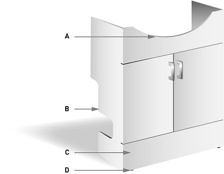 Vanity unit wash hand basin illustration with key