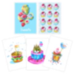 custom watercolor illustration, sweets, postcard, cake, cupcake