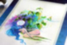 custom watercolor illustration, concept art, ecology, space, universe