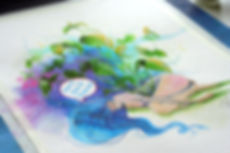 custom watercolor illustration, concept art, ecology, space, univerce