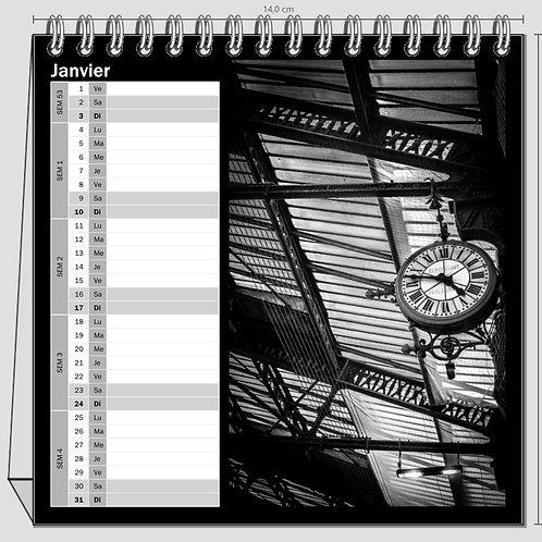 Calendrier Bureau carré Paris Black and White