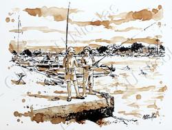 Thomas et Melvin à la pêche