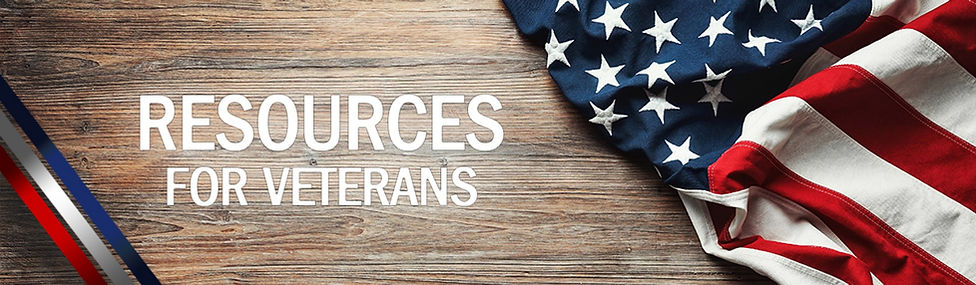United States flag on wood grain and text that says resources for veterans