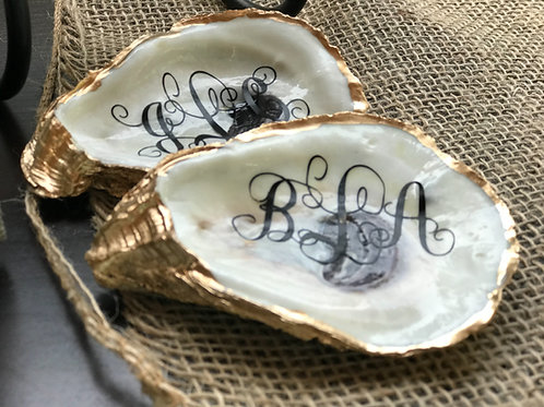 Monogrammed, personalized, sealed oyster shell