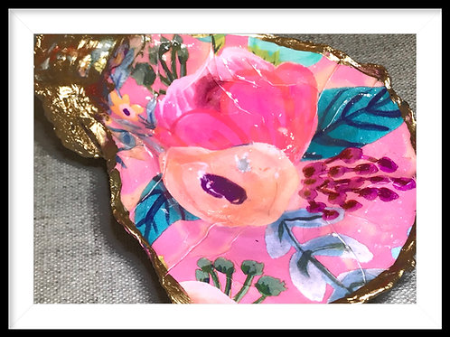 Oyster Shell Jewelry Dish:Floral