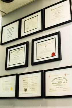 Justin Winger DDS Diplomas
