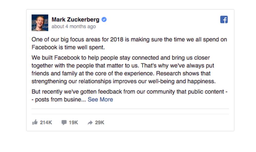 mark zuckerberg algorithm change