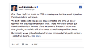 mark zuckerberg algorithm change